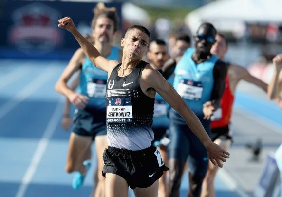 Ticket to Moscow: Matthew Centrowitz celebrates after winning the 1,500 meters Saturday at the U.S. track championships at Drake Stadium in Des Moines.