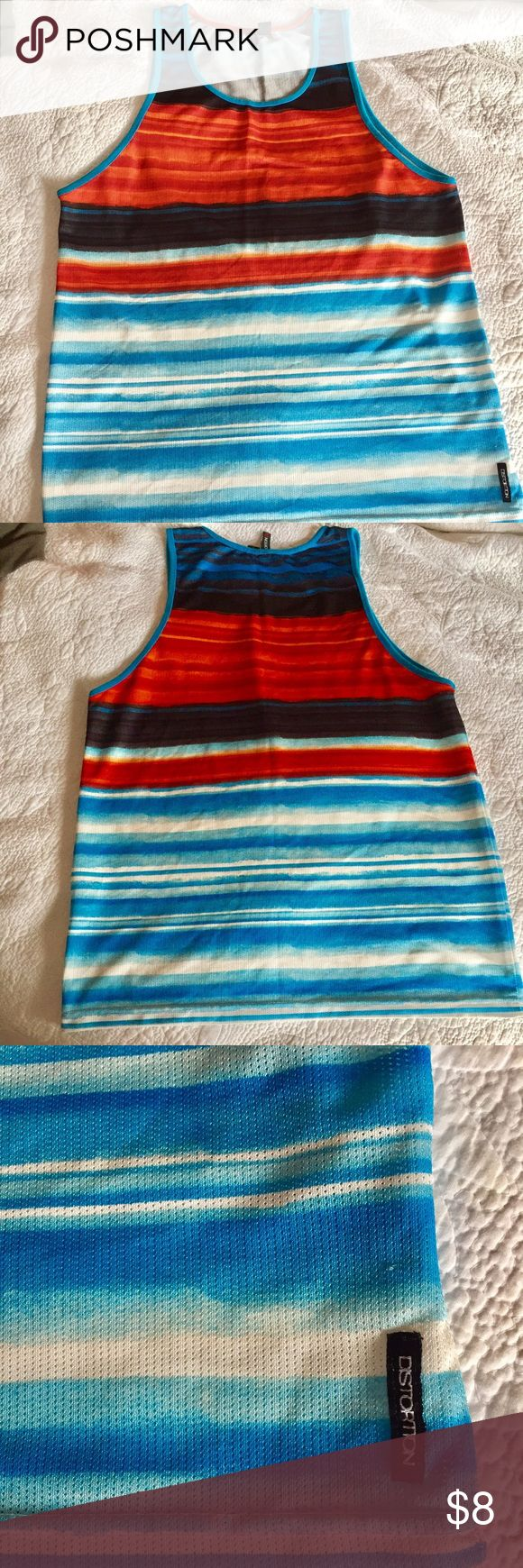 Distortion™ multi stripe tank Men's multi-colored, multi stripe tank. 100% polyester breathable mesh.  Very comfortable and keeps you cool! Size Men's XL.  Excellent used condition. Distortion Shirts Tank Tops