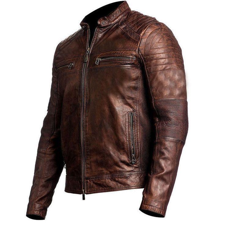 Vintage Cafe Racer Distressed Brown Biker Leather Jacket at Amazon Men's Clothing store: