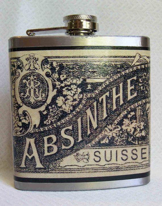 Flask  Image of Vintage Absinthe Label by theflaskshop on Etsy, $17.50