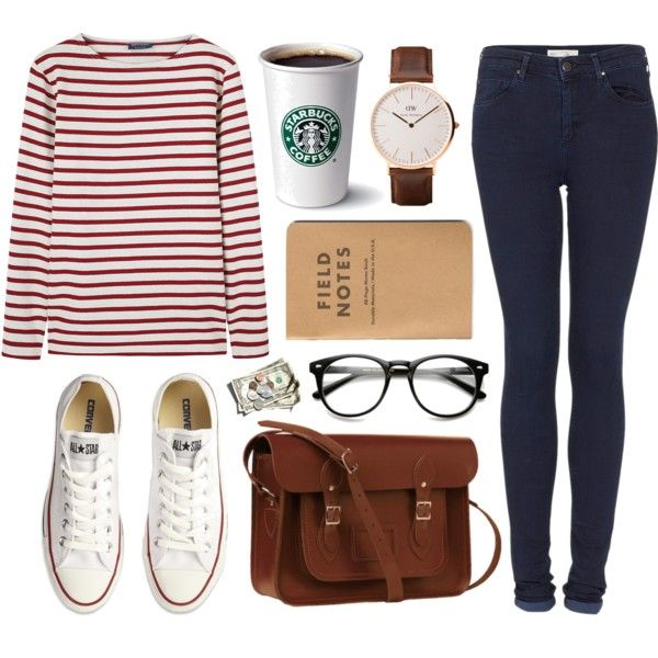 +1000 followers! by hanaglatison on Polyvore featuring polyvore, fashion, style, Saint James, Topshop, Converse, The Cambridge Satchel Company and Daniel Wellington