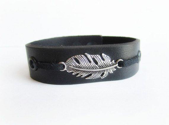 Men's leather cuff bracelet feather bracelet by Bravemenjewelry