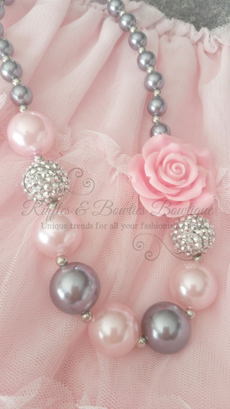 Silver & Pink Rose Bubble Gum Kids/Baby Necklace