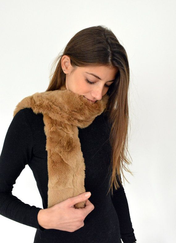 Women's Handmade Brown Fur scarf made with genuine Rex by lefushop