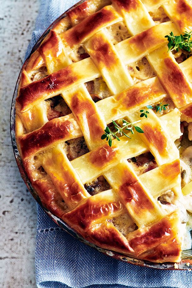 For a warming family dinner try this rustic chicken pie. Shredded chicken pairs perfectly with salty pancetta, succulent mushrooms and crème fraîche for a hearty autumnal dish.   Tesco