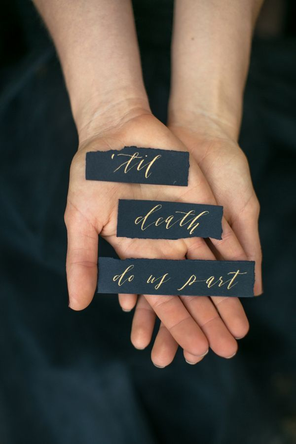 Darkly elegant calligraphy by Kelsey Malie   Photo by Sweet Blooms Photography