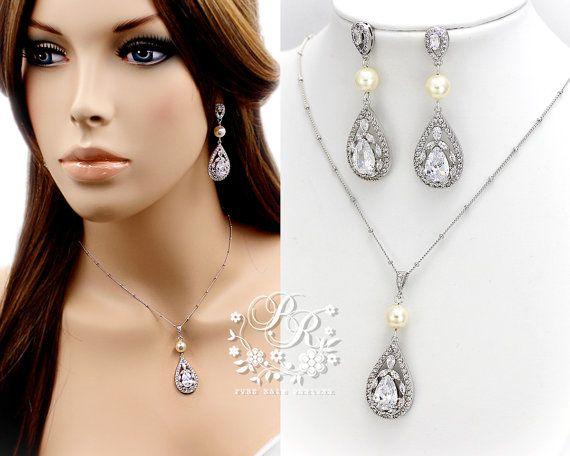Wedding Earrings Swarovski Pearl Teardrop by PureRainDesigns
