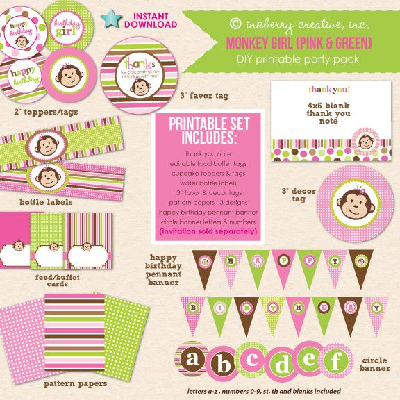 Monkey Girl Birthday (Pink & Green) - DIY Printable Party Pack