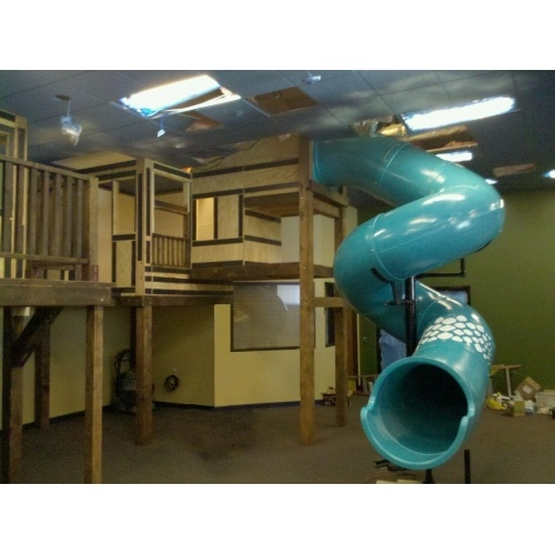 11 ft. Tube Slide 30/450 Degree Spiral. Image shown from recent indoor playground project during construction.