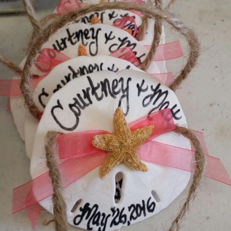 We make it personal! Sand dollar ornament keepsakes for Bridal shower, weddings, coastal brunch, & event receptions.