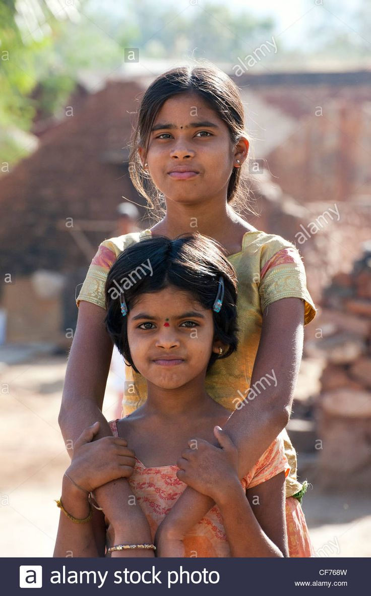 Download this stock image: Indian village girls. Andhra