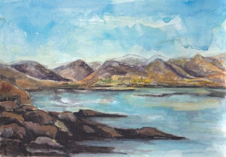 The Twelve Bens by Fiona Concannon on ArtClick.ie Irish Seascape Watercolour Art Galway