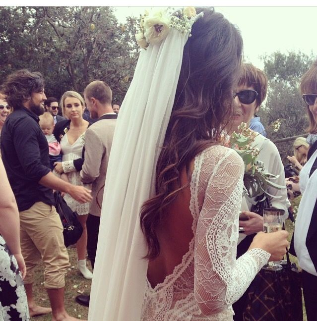 Open back, lace long sleeve, flower crown and flowing veil