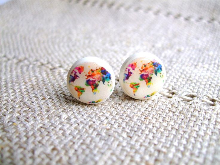 World Map Earring studs- Map of the world-  Whole Wide World- Colored world earrings- World Stud Earrings- Free shipping. $20.00, via Etsy.