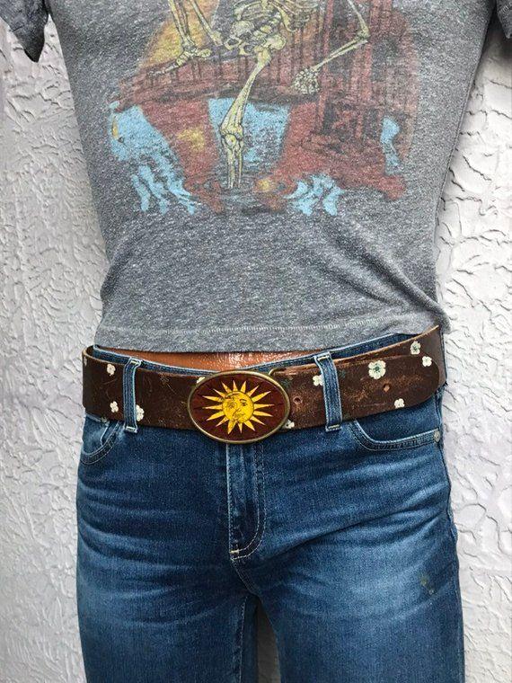 9f29678c2a9d 60's/70's Vintage Men's Hand Made Hippie Tooled Belt Sun Buckle large in  2019 | Vintage Men | Vintage men, Tool belt, Vintage