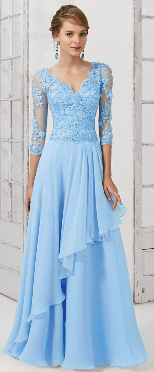Gorgeous Tulle & Chiffon V-neck Neckline 3/4 Length Sleeves A-line Mother Of The Bride Dresses With Beaded Lace Appliques