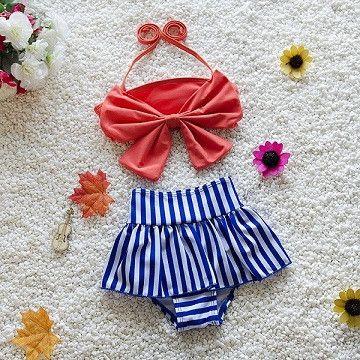 Bikini 2016 Biquini Infantil Girls Swimwear Swimsuit Kids Swimming Suit For Girl Children Bathing Suit with Cap