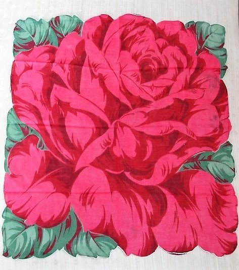 50s VINTAGE Printed Red Rose Hanky Colorful Figural Rose Floral Handkerchief To Frame Collectible Hankies Hankies To Collect