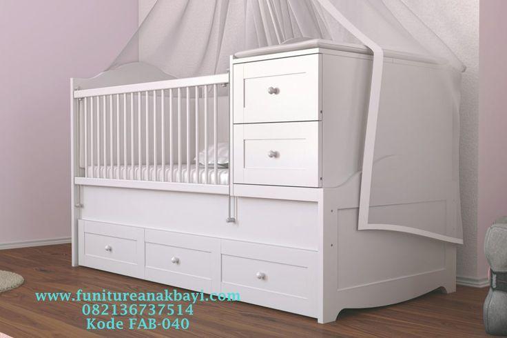 Jasa Pembuatan Tempat Tidur Bayi Berlaci Putih Modern, Harga Tempat Tidur Bayi Modern Serbaguna, Box Bayi Ber Laci Laci Minimalis Murah