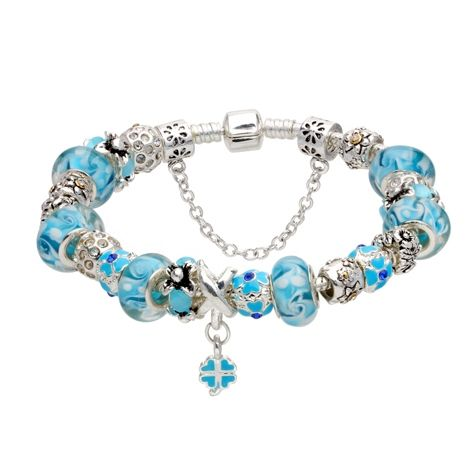 Bratara dama  Blue Murano Pandora Style