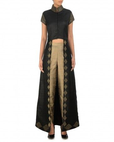 Black Front Open Jacket with Sequined Hem - Diwali Delight