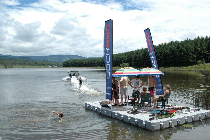 Bird Valley water skiers using DOCKPRO cubes for their water skiing competition. info@dockpro.co.za | www.dockpro.co.za