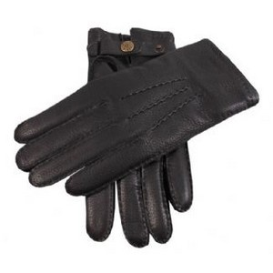 Dents Gloves - Black Handsewn Cashmere Lined Deerskin Gloves by Dents
