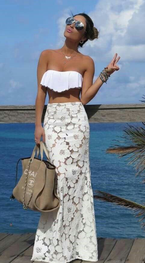 #Crop Top #Skirt Summer Outfit