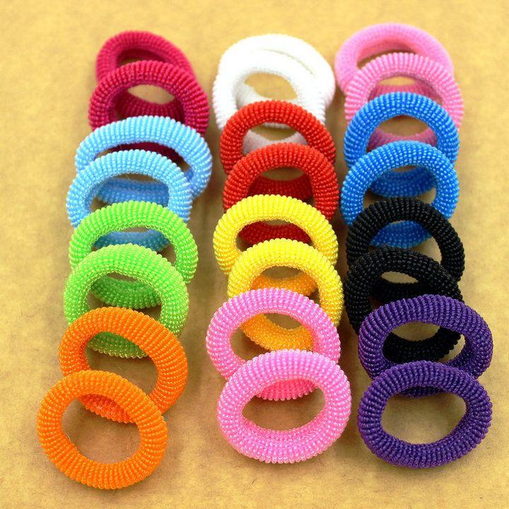 Nueva moda 80 unids/bolsa 30 mm colorido niño niños brillante titulares de pelo de bandas de goma elástico del pelo accesorios encantos de la muchacha del lazo goma