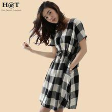 Gd149 nova celebridade moda mulheres xadrez de cintura alta com cordão roupas casuais vestido Plus Size(China (Mainland))