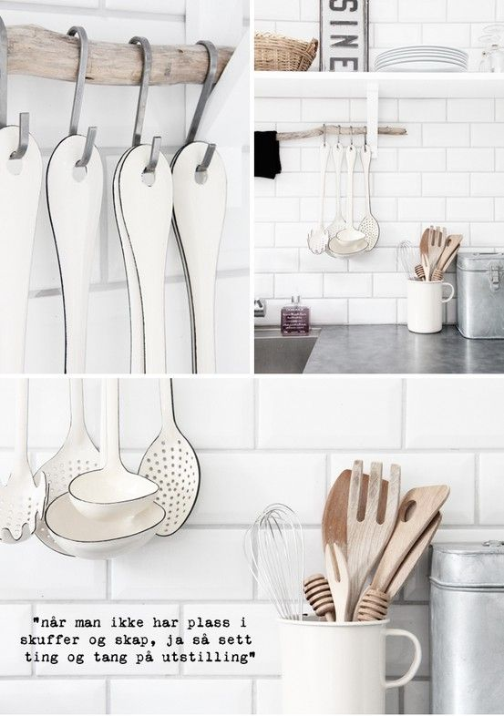 Scandinavian kitchen - tile backsplash and utensils by esther, love the stick! lol so funny and cute