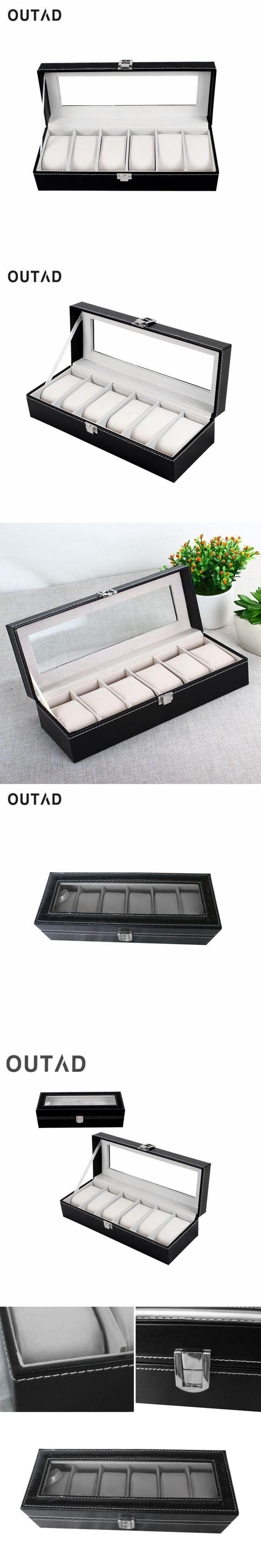 OUTAD Leather Watch Box Classic 6 Grids Luxury Refinement Slots Boxes Gift Case Jewelry Display Storage Holder Winder Organizer #luxuryjewelrydisplay