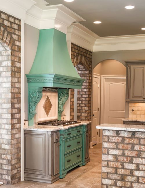 want a custom vent hood use corbels and carved wood moldings to get a unique - Vent Hoods