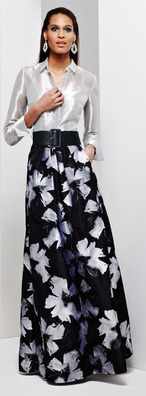 Carmen Marc Valvo Long-Sleeve Sheer Metallic Blouse&Pleated Floral-Print Ball Skirt