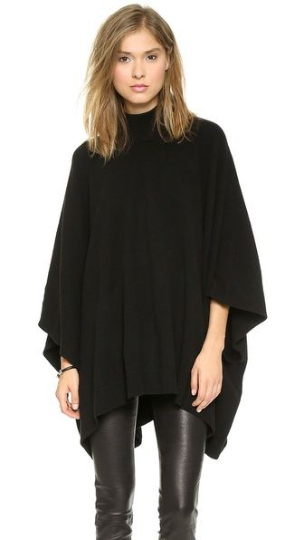 Black turtleneck! Theory Lorywash Poncho