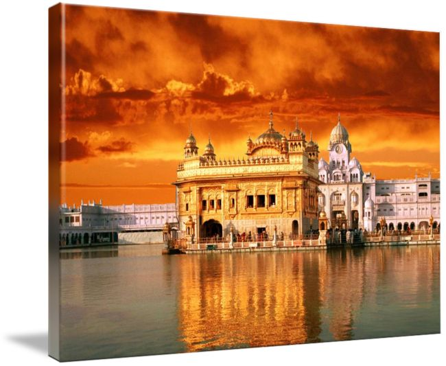 """""""Golden Temple Sunset"""" by SikhPhotos.com Gallery, Espanola, New Mexico // Beautiful picture of the Golden Temple, in Amritsar (Punjab), India. The Hari Mandir, now called the Golden Temple, is a living symbol of the spiritual and historical traditions of the Sikhs. The tank and the temple have been a source of inspiration to the Sikh community eve... // Imagekind.com -- Buy stunning fine art prints, framed prints and canvas prints directly from independent working artists and photographers."""