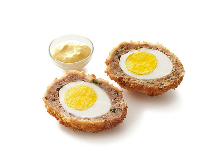 I used the other recipe and baked my eggs but this mustard sauce is delicious with it and simple to make  Scotch Eggs with Mustard Sauce recipe from Robert Irvine via Food Network