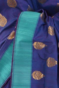 Banarsi- silk dark marine blue saree with blouse