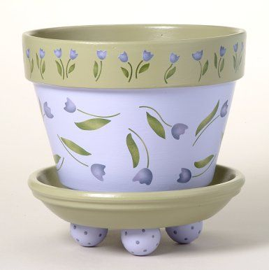 163 Tori's Tulips Flower Pot Stencil