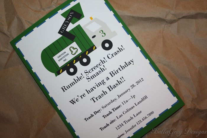 Custom Decorative Labels - Trash Truck Party Collection - by BellaGrey Designs As seen on Hostess with the Mostess. $10.50, via Etsy.