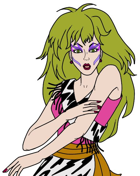 Pizzazz from Jem and the Holograms. This is my costume for Halloween 2014 - better get to work on it. :)