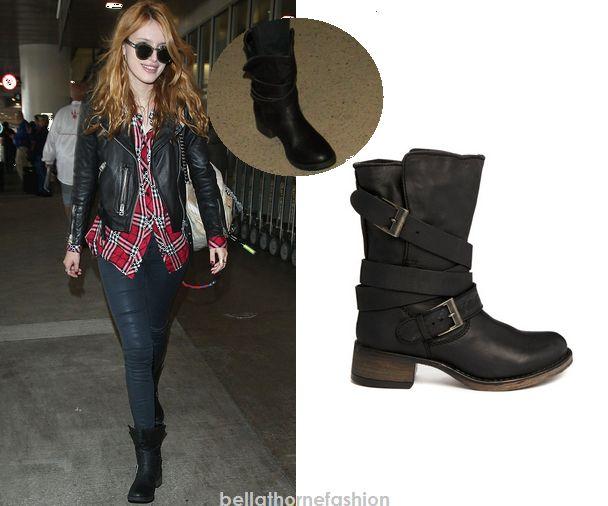 Bella Thorne wears these Steve Madden Brenden Brewzer Strap Detail Boots in Black arriving in LAX on November 12th 2014