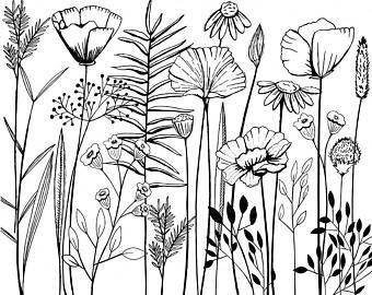 Long Stem Flower Line Art, Sketched Flower Digital Stamps, Summer Floral ClipArt, Decorative Invitations, Printable Card Clip Art