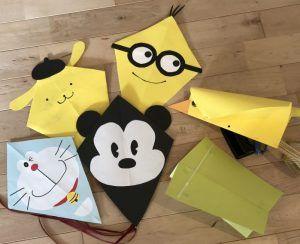 竹ひごなし!【画用紙とストローで作る簡単な凧の作り方】100均DIYで折るだけ簡単なカイトや可愛いキャラクター凧を手作り♪冬休みに子供と凧あげを楽しもう♪