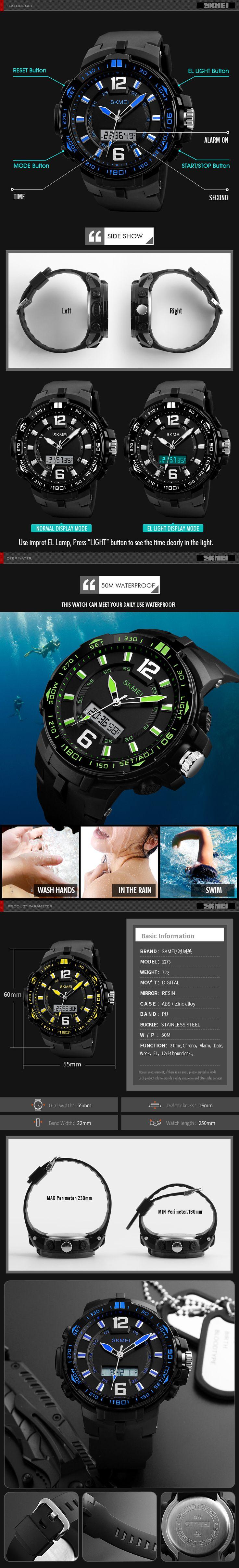 SKMEI 1273 Outdooors Men Digital Watch 50M Waterproof Multifunction Fashionable LED Wirstwatches