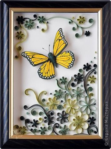 Quilled yellow butterfly