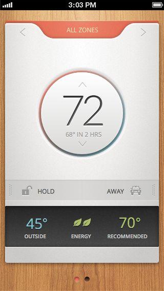 gui minimalism: Thermostat 2013-05-20 by Sam Bible (via dribbble 117958)