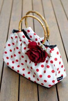 Adorable red white polka dot purse handbag; accessorize with polka dots