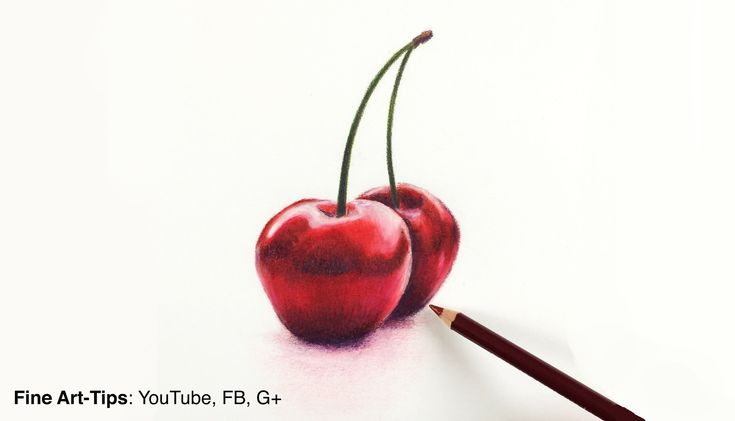 Drawing fruits:How to Draw Cherries With Color Pencils- Fine Art-Tips - http://www.thehowto.info/drawing-fruitshow-to-draw-cherries-with-color-pencils-fine-art-tips/