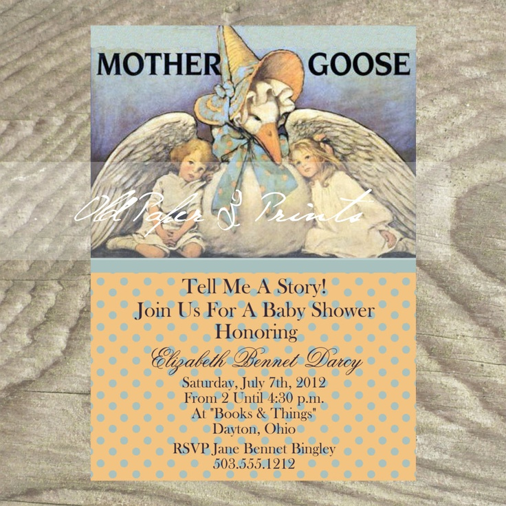 Traditional mother goose baby shower invitation or birth traditional mother goose baby shower invitation or birth announcement 1350 via etsy baby showers pinterest mother goose shower invitations and filmwisefo Images